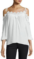Karina Grimaldi Fleur Lace-Trim Cold-Shoulder Top