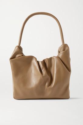 STAUD Felix Ruched Leather Shoulder Bag - Tan