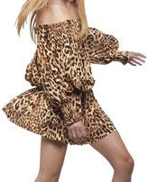 Norma Kamali Women's Peasant Dress - Caramel Leopard