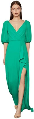 BCBGMAXAZRIA 3/4 Sleeve Gown (Sapphire Green) Women's Dress