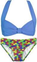 Fin Fin Fin Fun Mermaid Girls Clamshell Bikini Set, Blue Top, Arctic Blue Bottom, Medium