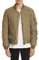 R 13 Men's Ripped Canvas Bomber