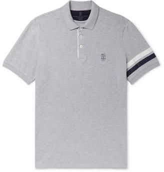 Brunello Cucinelli Slim-Fit Shell-Trimmed Melange Cotton-Pique Polo Shirt
