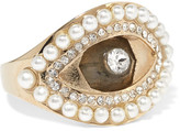 Alexander McQueen Gold-tone, Swarovski Crystal And Faux Pearl Ring - 13