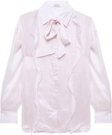 Nina Ricci Pussy-bow Ruffle-trimmed Crepon Blouse
