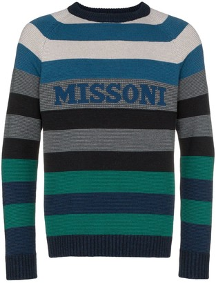 Missoni Logo Intarsia Striped Sweater