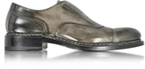 Forzieri Italian Handcrafted Black/Gray Washed Leather Oxford Shoe