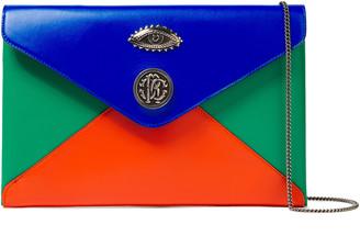 Roberto Cavalli Embellished Color-block Leather Envelope Clutch