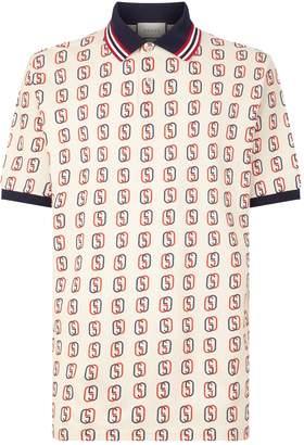 Gucci Contrast Collar Interlocking G Polo Shirt