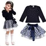 Jeleuon Kids Girls 2PCS Princess Pearl T-Shirt Tops+Lace Dot Short Skirt Outfit