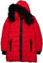 XOXO Faux Fur Trim Hood Knee Length Quilted Jacket (Little Girls)