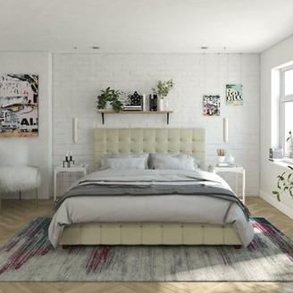CosmoLiving by Cosmopolitan Elizabeth Tufted Upholstered Storage Platform Bed Size: Full, Color: Ivory Velvet