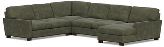 Pottery Barn Turner Square Arm Leather 4-Piece Chaise Sectional With Nailheads