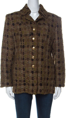 Christian Lacroix Khaki Green Wool Blend Tweed Front Button Jacket L