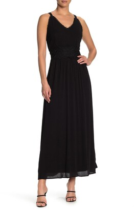 Nina Leonard Sleeveless Lace Trim Maxi Dress