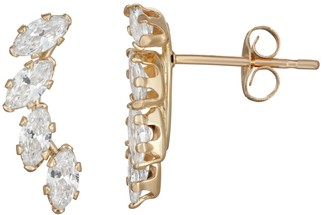 Marquis Taylor Grace 10k Gold Cubic Zirconia Crawler Stud Earrings