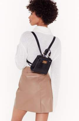 Nasty Gal Womens Want Croc The Boat Faux Leather Mini Backpack - Black - One Size