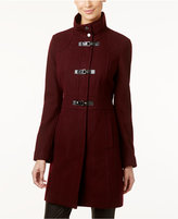 Kenneth Cole Faux-Leather-Trim Buckle-Front Walker Coat