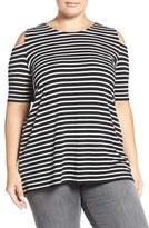 Vince Camuto Plus Size Women's Cold Shoulder Stripe Top