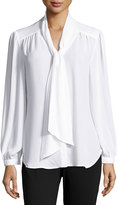 Neiman Marcus Long-Sleeve Self-Tie Bow Blouse, White