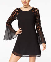 Sequin Hearts Juniors' Embroidered Sheer Bell-Sleeve Dress