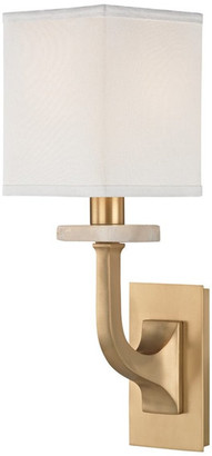Rockwell Hudson Valley Lighting 1 Light Wall Sconce, Aged Brass Finish, White 100% Silk