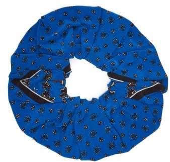 Ganni Printed Silk Scrunchie - Womens - Blue