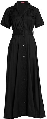 STAUD Millie Short-Sleeve Belted Shirtdress