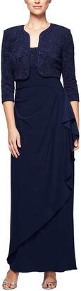 Alex Evenings Women's Long Side Ruched Dress W/Bolero (Petite and Regular Sizes)