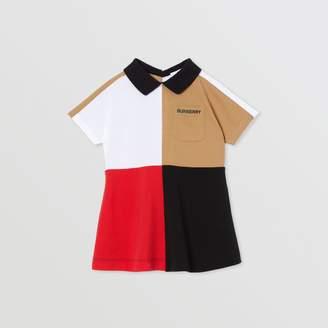 Burberry Childrens Colour Block Knit Cotton Polo Shirt Dress
