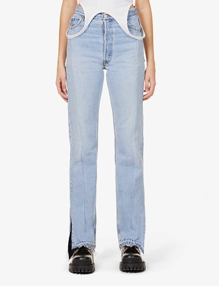 Eb Denim Unraveled Split Hem straight-leg high-rise jeans