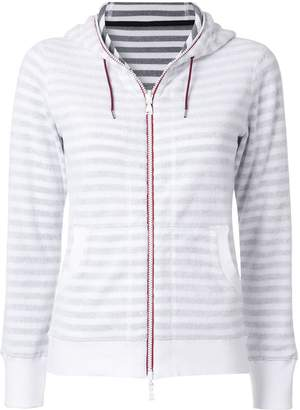 Loveless striped zip fleece hoodie