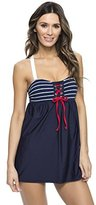 Nautica Women's Classic Stripe Soft Tie Front Swim Dress One Piece Swimsuit