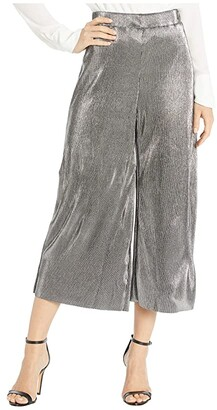 MICHAEL Michael Kors Pleated Metallic Pants (Silver) Women's Casual Pants