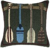 Lodge Oar Hook Square Throw Pillow in Green