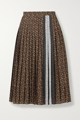 Burberry Pleated Printed Crepe De Chine Skirt - Brown