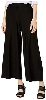 Eileen Fisher Lightweight Washable Stretch Crepe High-Waisted Ankle Pants (Black) Women's Casual Pants