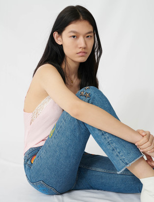 Maje Straight jeans with embroidered patches
