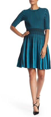 Nanette Nanette Lepore Striped Fit & Flare Cocktail Dress
