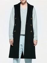 Calvin Klein Platinum Wool Double Breasted Sleeveless Coat