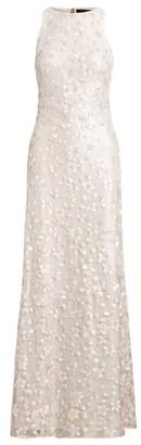 Ralph Lauren Sequin-Floral Sleeveless Gown
