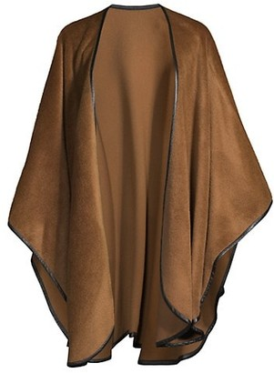Sofia Cashmere Leather-Trimmed Cape