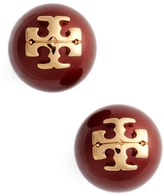 Tory Burch Women's Swarovski Crystal Pearl Logo Stud Earrings