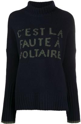 Zadig & Voltaire Slogan-Print Merino Knit Jumper
