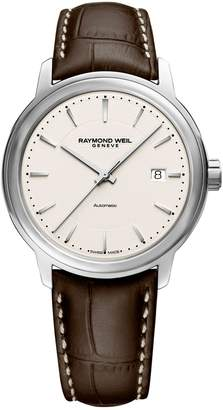 Raymond Weil Maestro Stainless Steel Leather-Strap Watch