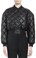 Stella McCartney Quilted Faux-Leather Bomber Jacket, Black