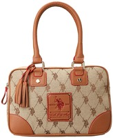 U.S. Polo Assn. Ascot Jacquard Satchel (Chino/Saddle) - Bags and Luggage