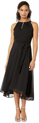Tahari ASL Sleeveless Chiffon Keyhole Midi (Black) Women's Dress