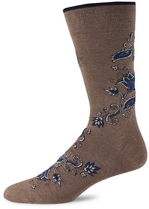 Marcoliani Milano Oriental Floral Pique Knit Crew Socks