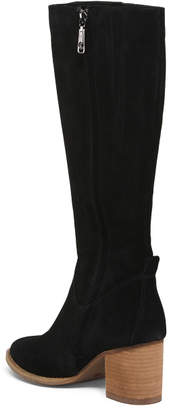 Waterproof Leather Stacked Heel Tall Shaft Boots